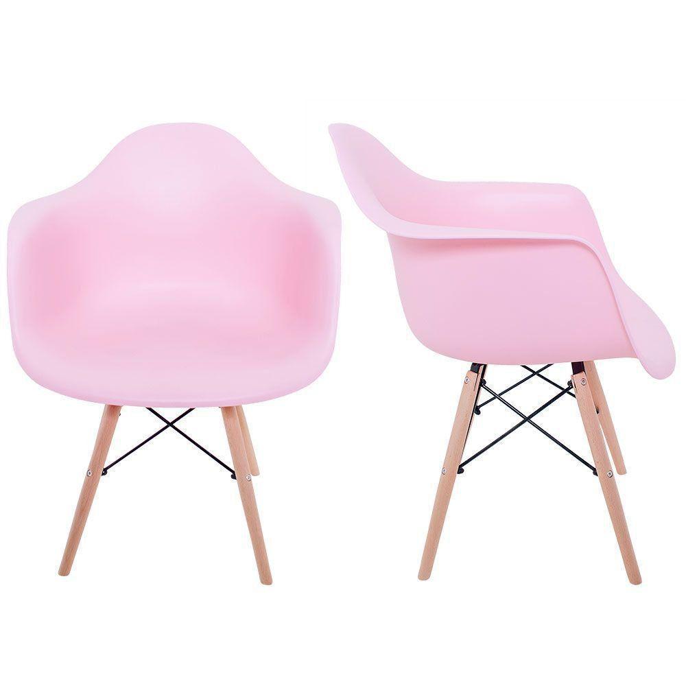 Kit 02 Cadeiras Melbourne Eiffel Charles Eames Base Madeira - Rosa - Factus