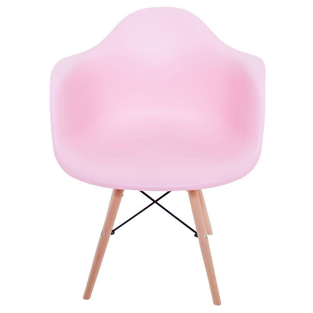 Kit 02 Cadeiras Melbourne Eiffel Charles Eames Base Madeira - Rosa - D'Rossi