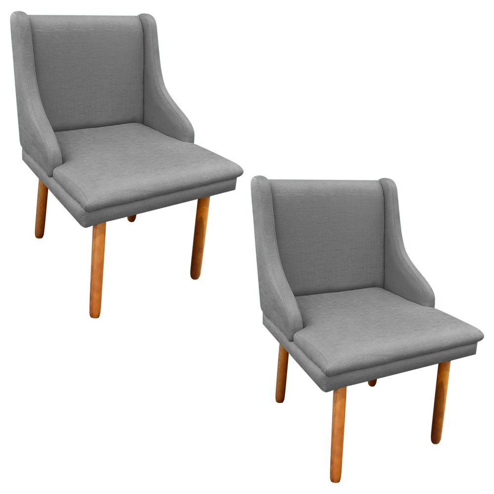 Kit 02 Cadeiras Sala de Jantar Liz Linho Pés Palito Castanho D'Rossi