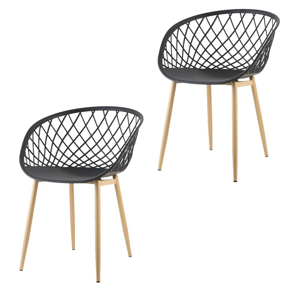 Kit 02 Cadeiras Clarice com Braço Tressê Preto D'Rossi