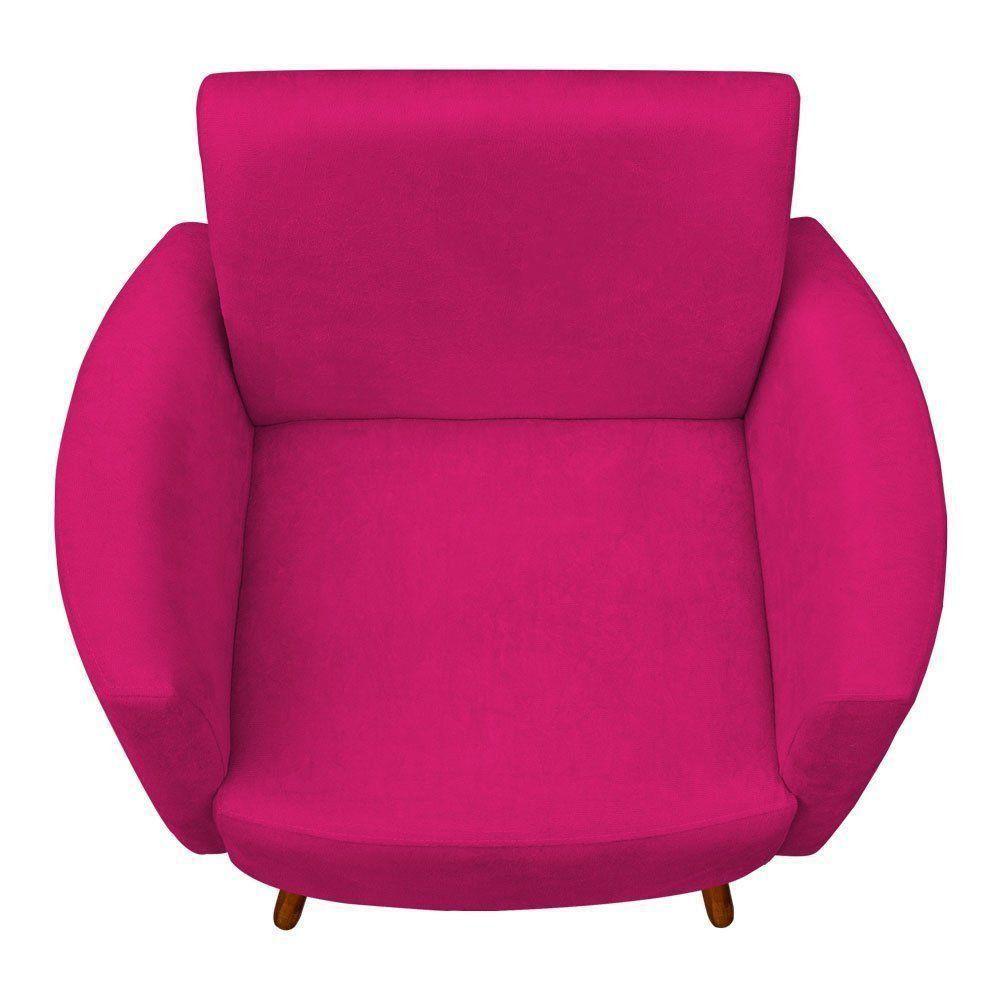 Kit 02 Poltronas Agatha Suede Pink Pés Palito Castanho D'Rossi