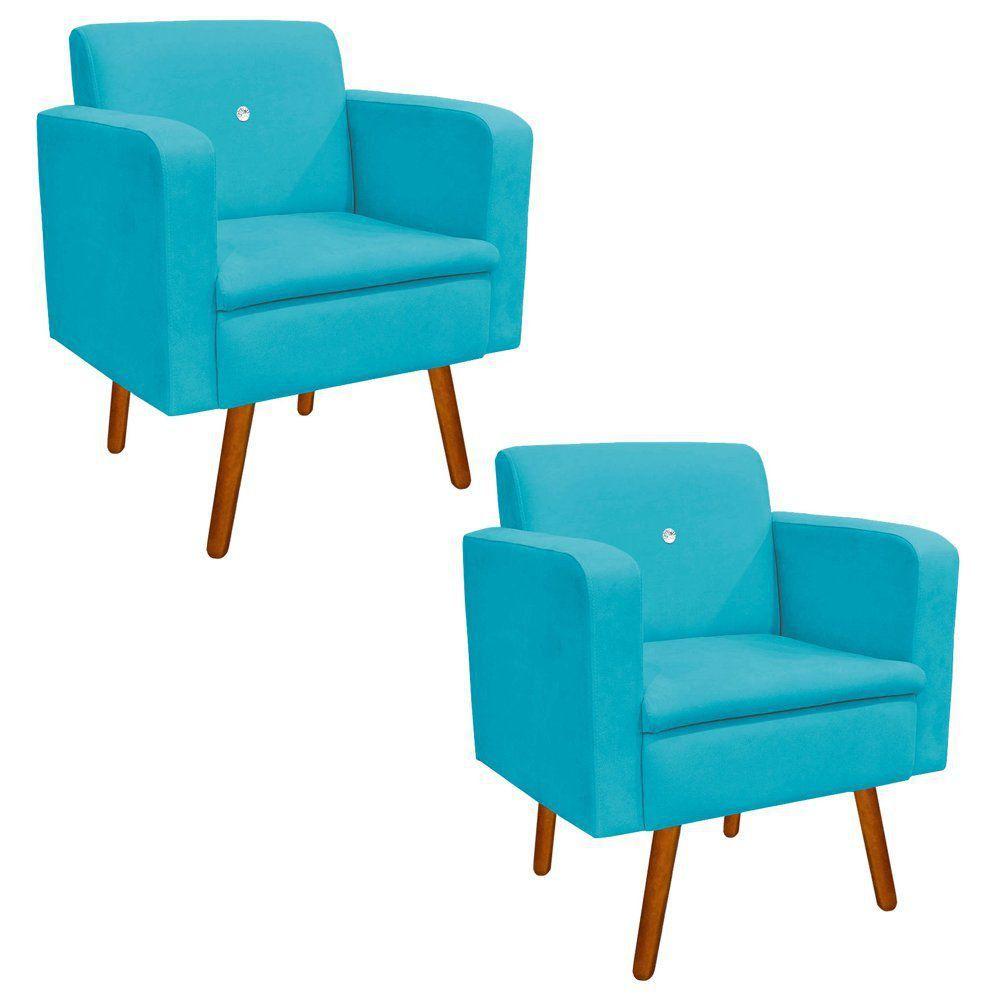 Kit 02 Poltronas Emília Suede Azul Turquesa com Strass Pés Palito Castanho D'Rossi