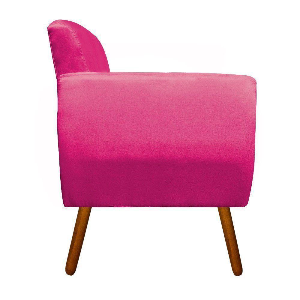 Kit 02 Poltronas Josy Suede Pink Pés Palito Castanho D'Rossi