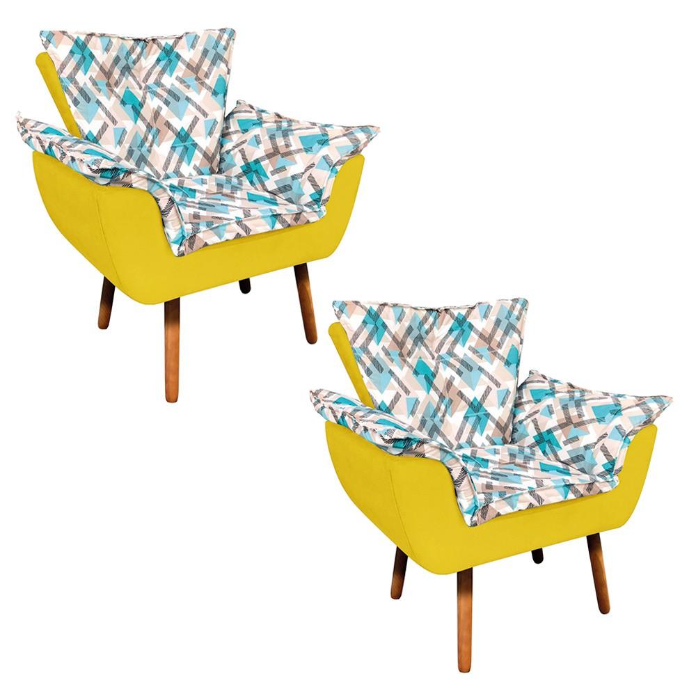 Kit 02 Poltronas Opala Composê Suede Amarelo com Estampado Traçado Azul D33 Pés Palito Castanho D'Rossi