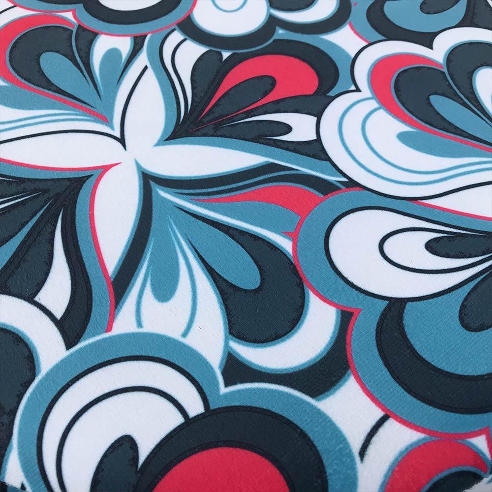 Kit 02 Puffs Banqueta Berlim Redondo Estampado Floral Azul Pés Tabaco D'Rossi