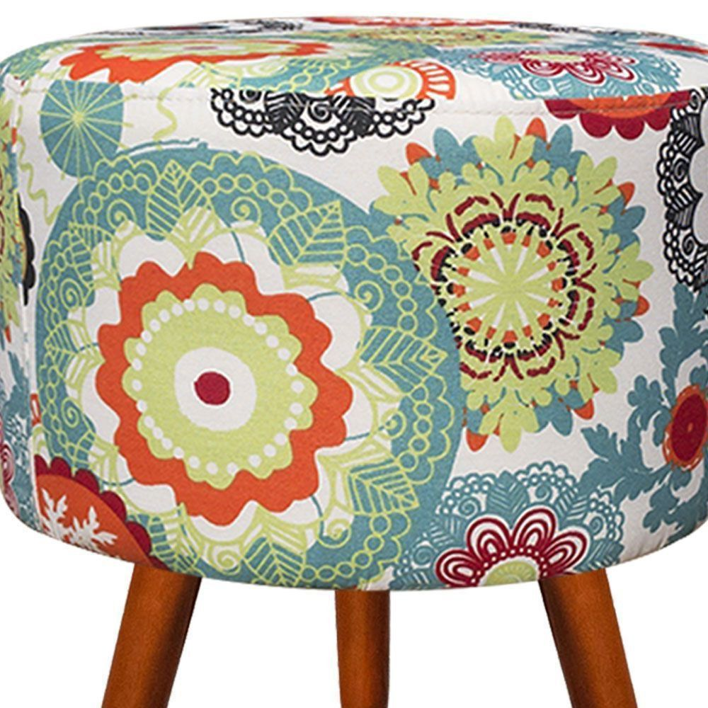 Kit 02 Puffs Banqueta Decorativa Dora Estampado Floral Laranja D31 - D'Rossi