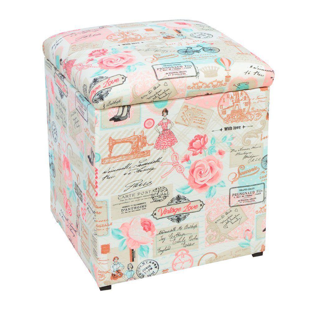 Kit 02 Puffs Baú Infantil Organizador Dani Quadrado Estampado Retrô Rosa D61 D'Rossi