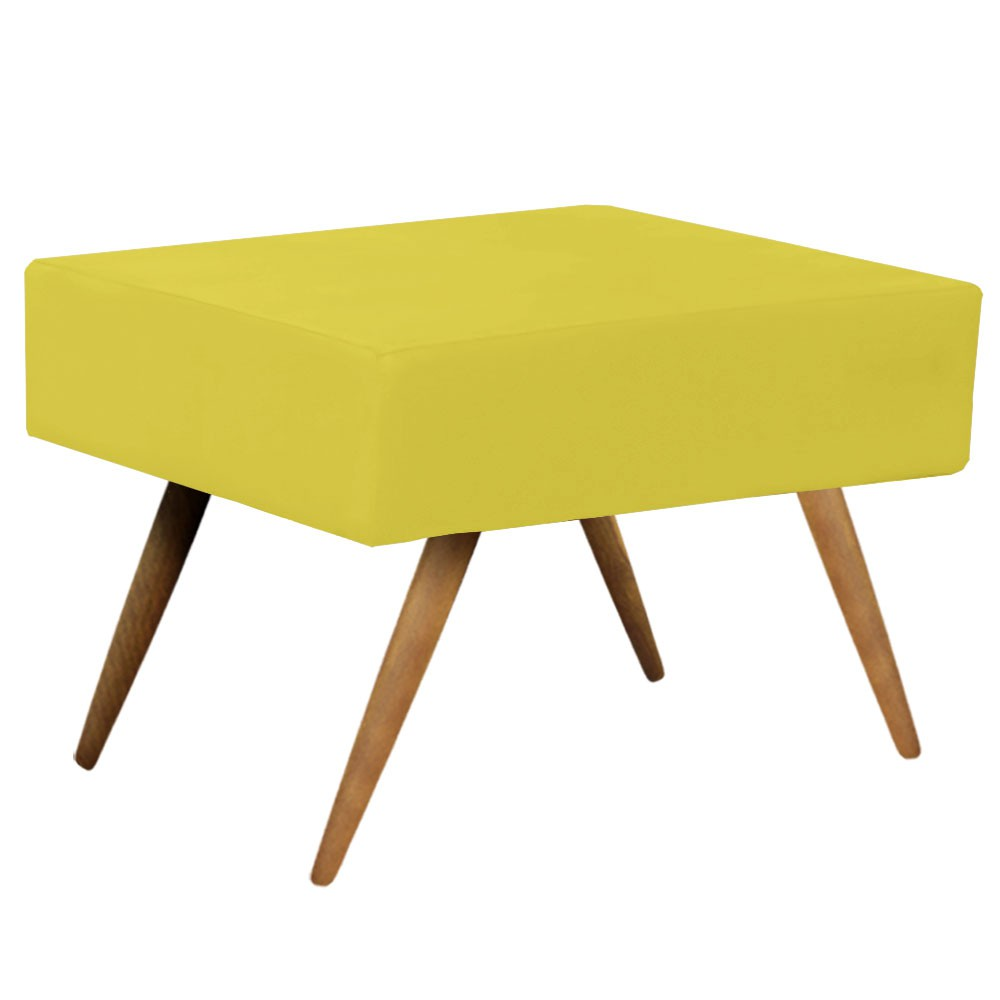 Kit 02 Puff Decorativo Charme Retangular Suede Amarelo - D'Rossi
