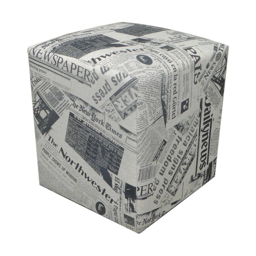 Kit 02 Puff Decorativo Dado Quadrado Linho Estampado Jornal D19 - D'Rossi