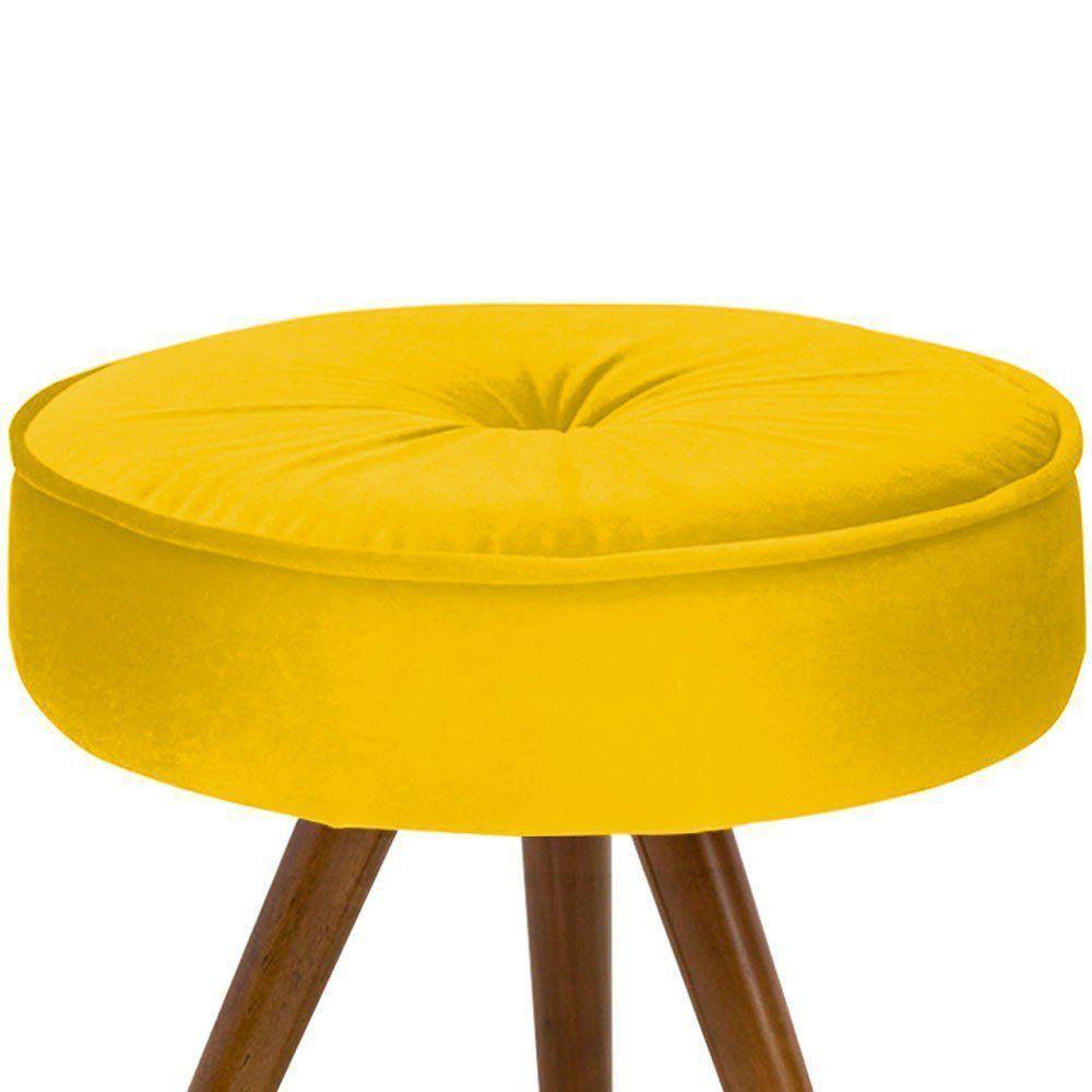 Kit 02 Puff Decorativo Julia Redondo Suede Amarelo - D'Rossi
