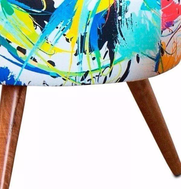 Kit 02 Puffs Angel Redondo Estampado Color D18 Pés Palito Castanho D'Rossi