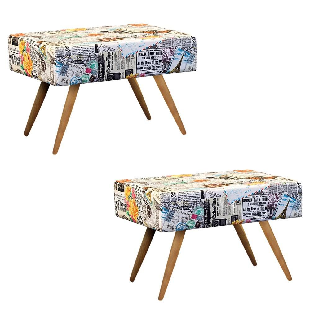 Kit 02 Puffs Decorativo Charme Retangular Estampado Jornal Color D07 - D'Rossi