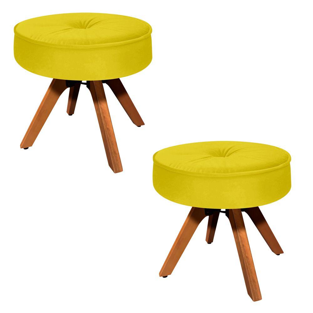 Kit 02 Puffs Decorativo Julia Redondo Suede Amarelo com Base Giratória de Madeira - D'Rossi