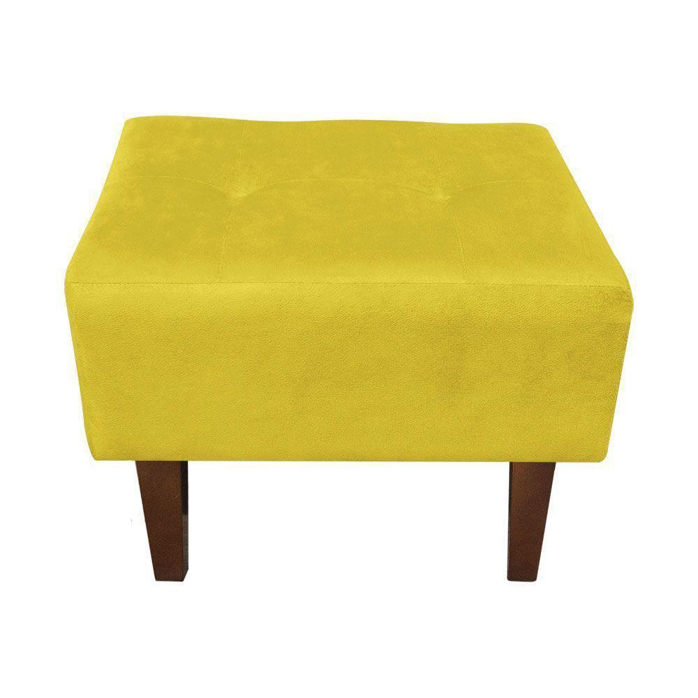 Kit 02 Puffs Decorativos Livia Suede Amarelo Pés Chanfrado - D'Rossi