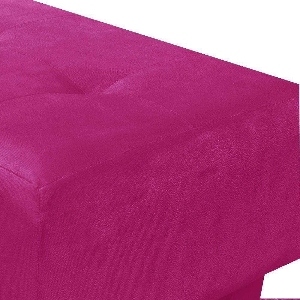 Kit 02 Puffs Decorativos Livia Pé Chanfrado Suede Pink - D'Rossi