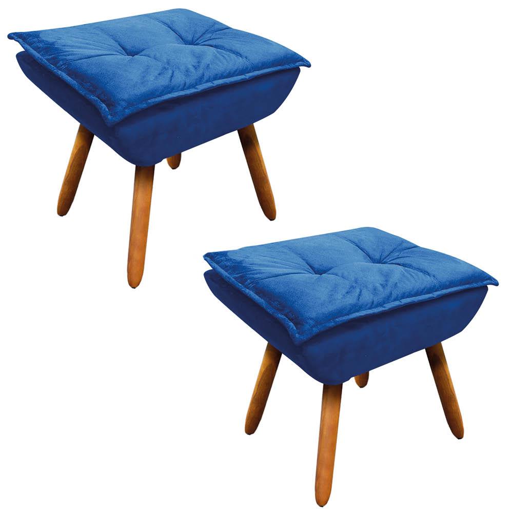 Kit 02 Puffs Opala Suede Azul Royal Pés Palito Castanho D'Rossi