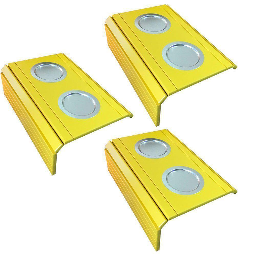 Kit 03 Bandeja Esteira para Braço de Sofá Porta Copo Aluminio Amarelo - D'Rossi