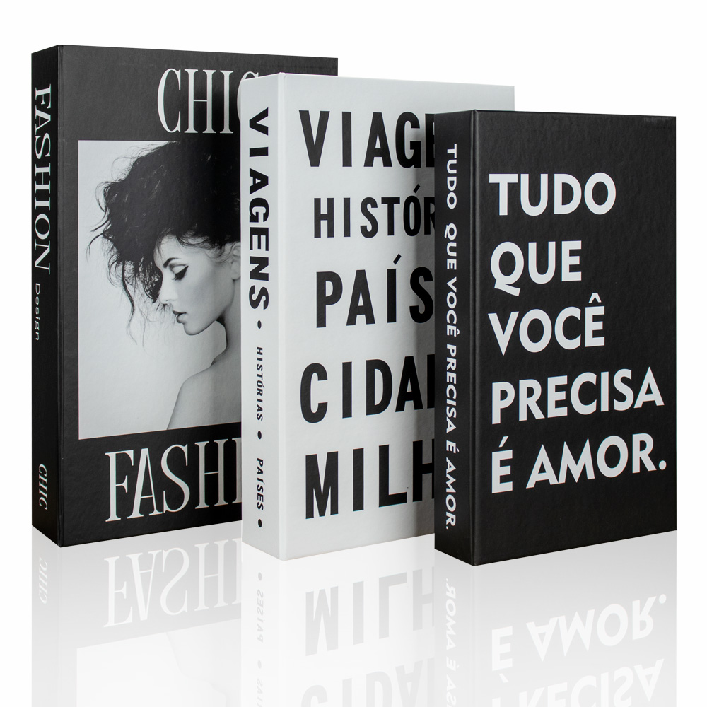 Kit 03 Caixa Livros Porta Objetos Decorativo - D'Rossi