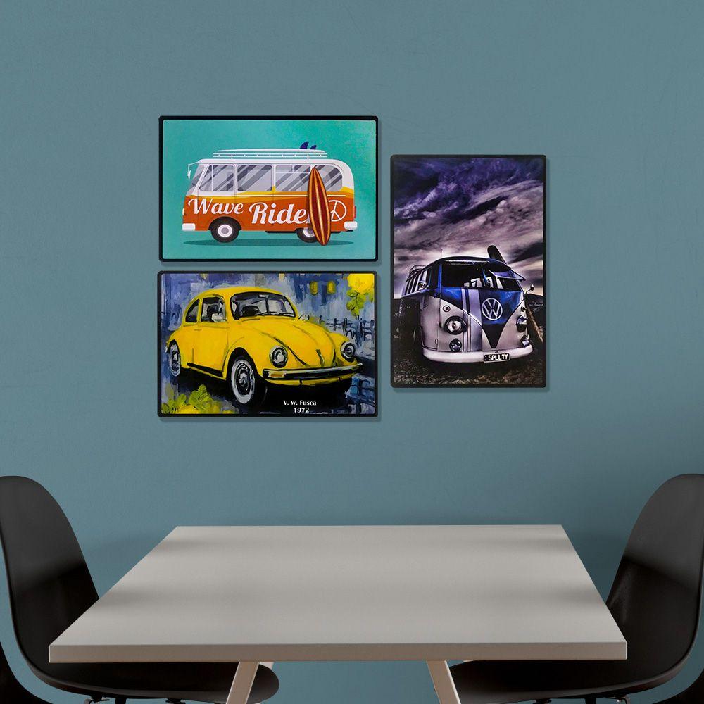 Kit 03 Placas de MDF Decorativas Carros 19,5x29,5 - D'Rossi