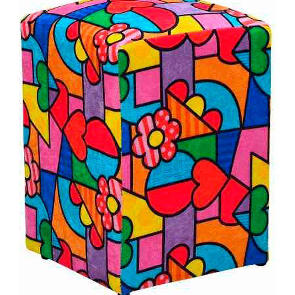 Kit 03 Puff Decorativo Dado Quadrado Romero Brito D15 - D'Rossi