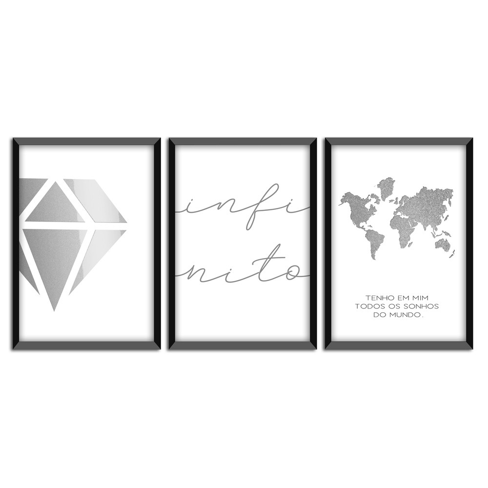 Kit 03 Quadros Decorativos
