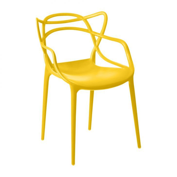 Kit 04 Cadeira Allegra Sala de Jantar Amarelo - D'Rossi