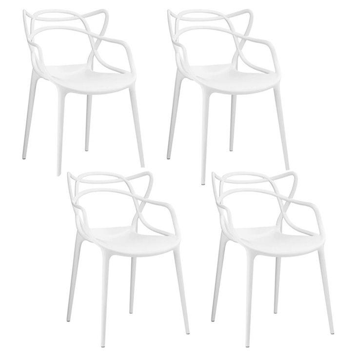 Kit 04 Cadeira Allegra Sala de Jantar Branco - D'Rossi