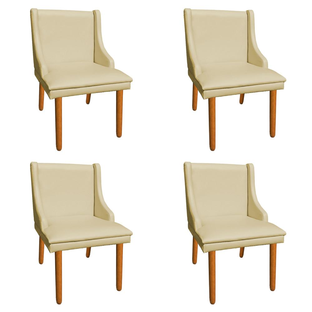 Kit 04 Cadeiras de Jantar Liz Corino Bege Pés Palito Castanho D'Rossi
