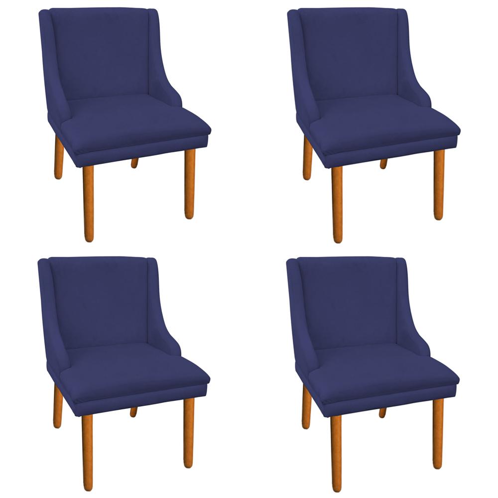 Kit 04 Cadeiras de Jantar Liz Suede Azul Marinho Pés Palito Castanho D'Rossi