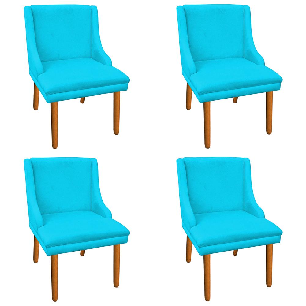Kit 04 Cadeiras de Jantar Liz Suede Azul Turquesa Pés Palito Castanho D'Rossi