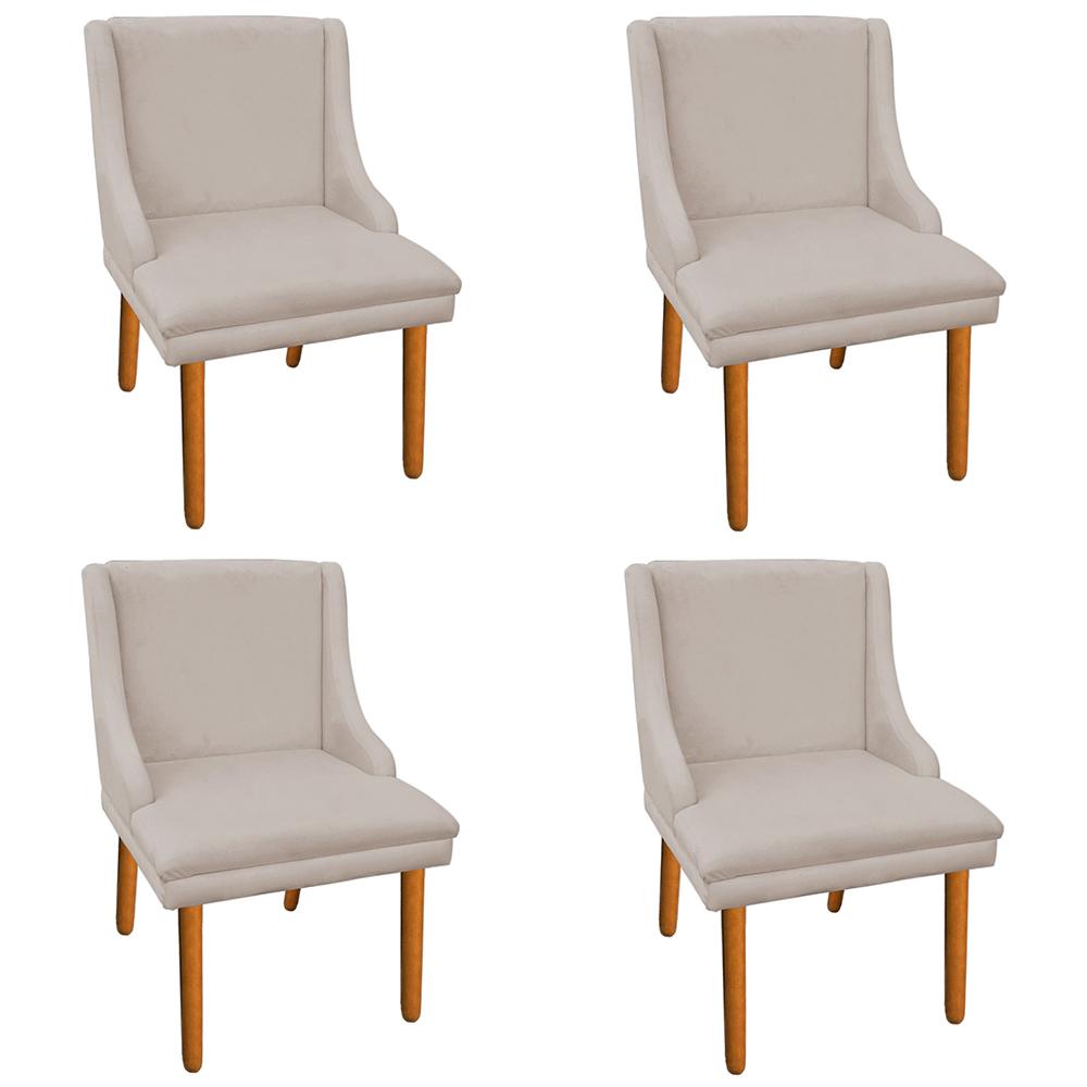 Kit 04 Cadeiras de Jantar Liz Suede Bege Pés Palito Castanho D'Rossi
