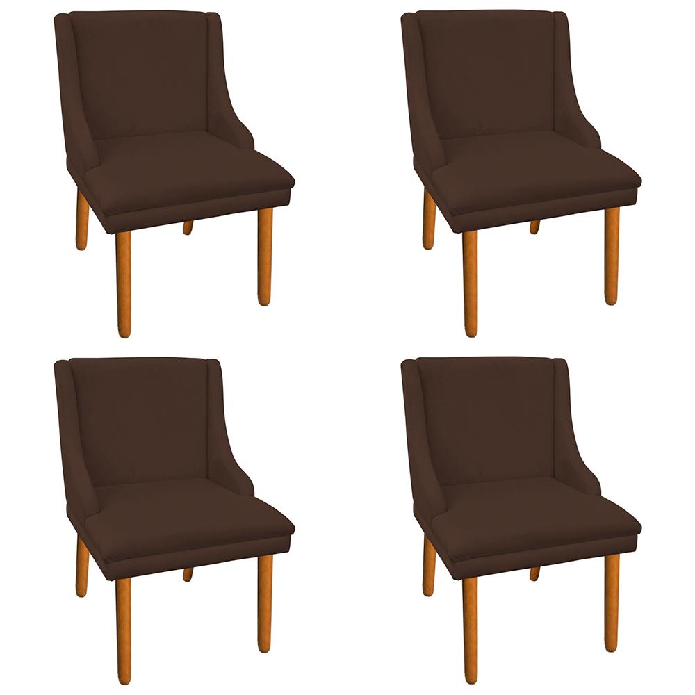 Kit 04 Cadeiras de Jantar Liz Suede Marrom Pés Palito Castanho D'Rossi