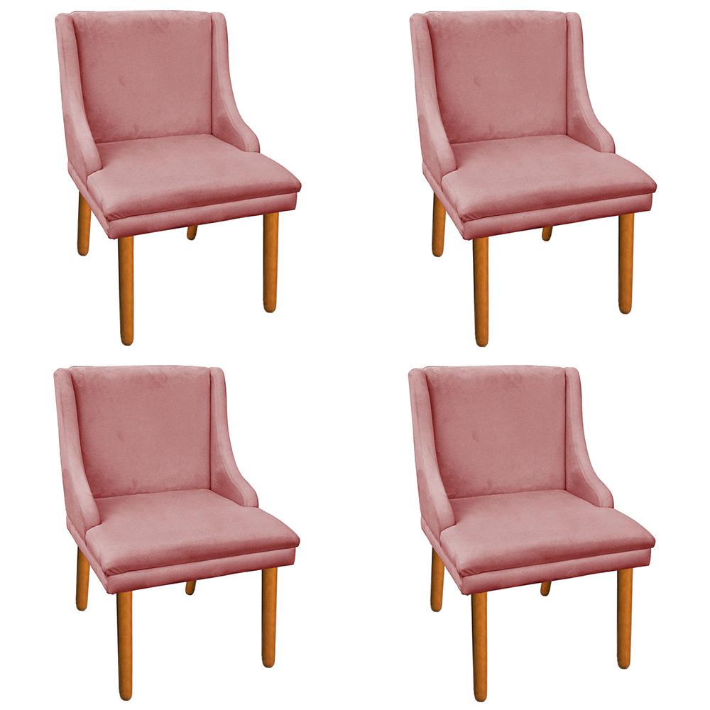 Kit 04 Cadeiras de Jantar Liz Suede Rose Pés Palito Castanho D'Rossi