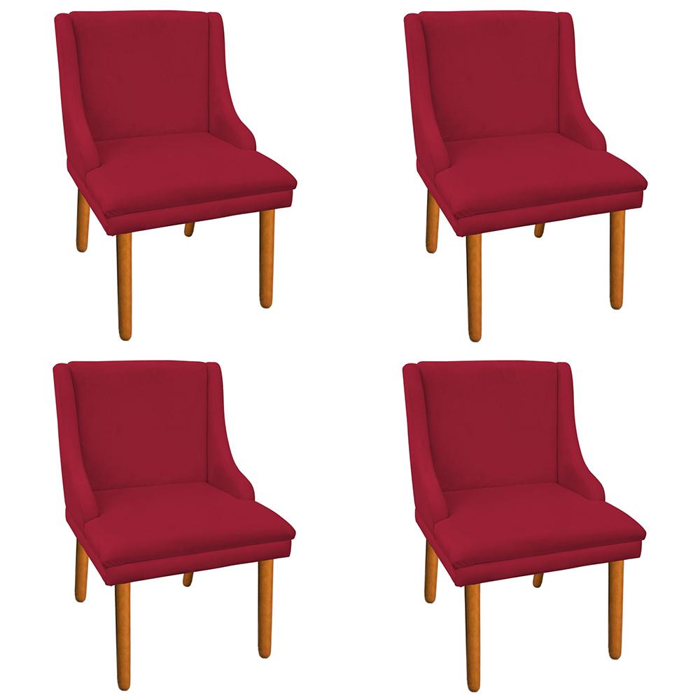 Kit 04 Cadeiras de Jantar Liz Suede Vermelho Pés Palito Castanho D'Rossi