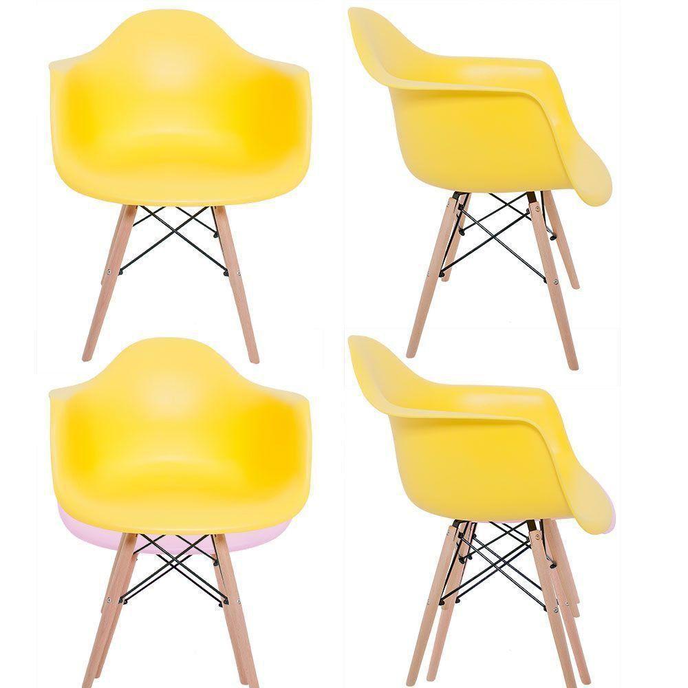 Kit 04 Cadeiras Melbourne Eiffel Charles Eames Base Madeira - Amarela - D'Rossi