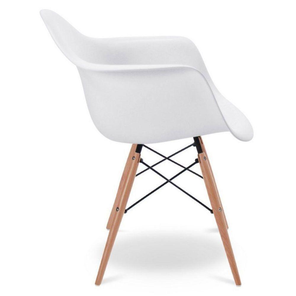 Kit 04 Cadeiras Melbourne Eiffel Charles Eames Base Madeira - Branca - Factus