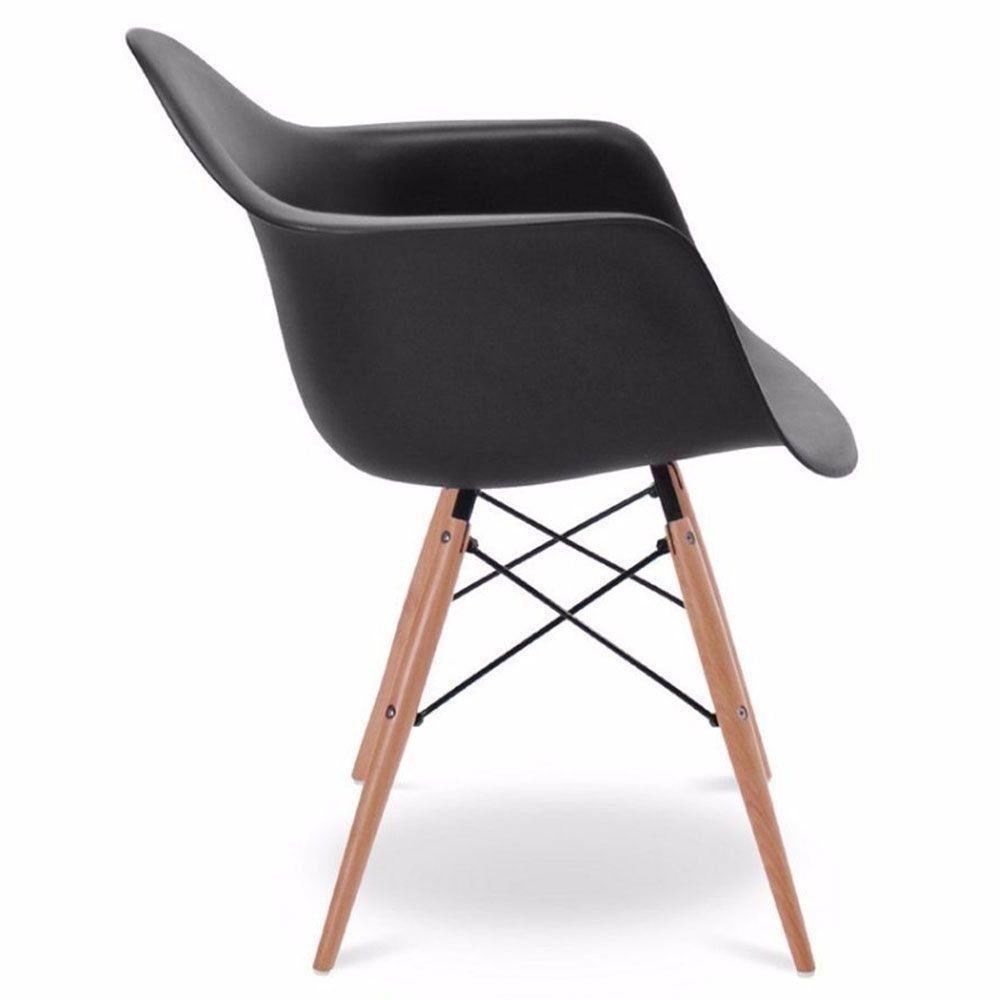 Kit 04 Cadeiras Melbourne Eiffel Charles Eames Base Madeira - Preta - D'Rossi