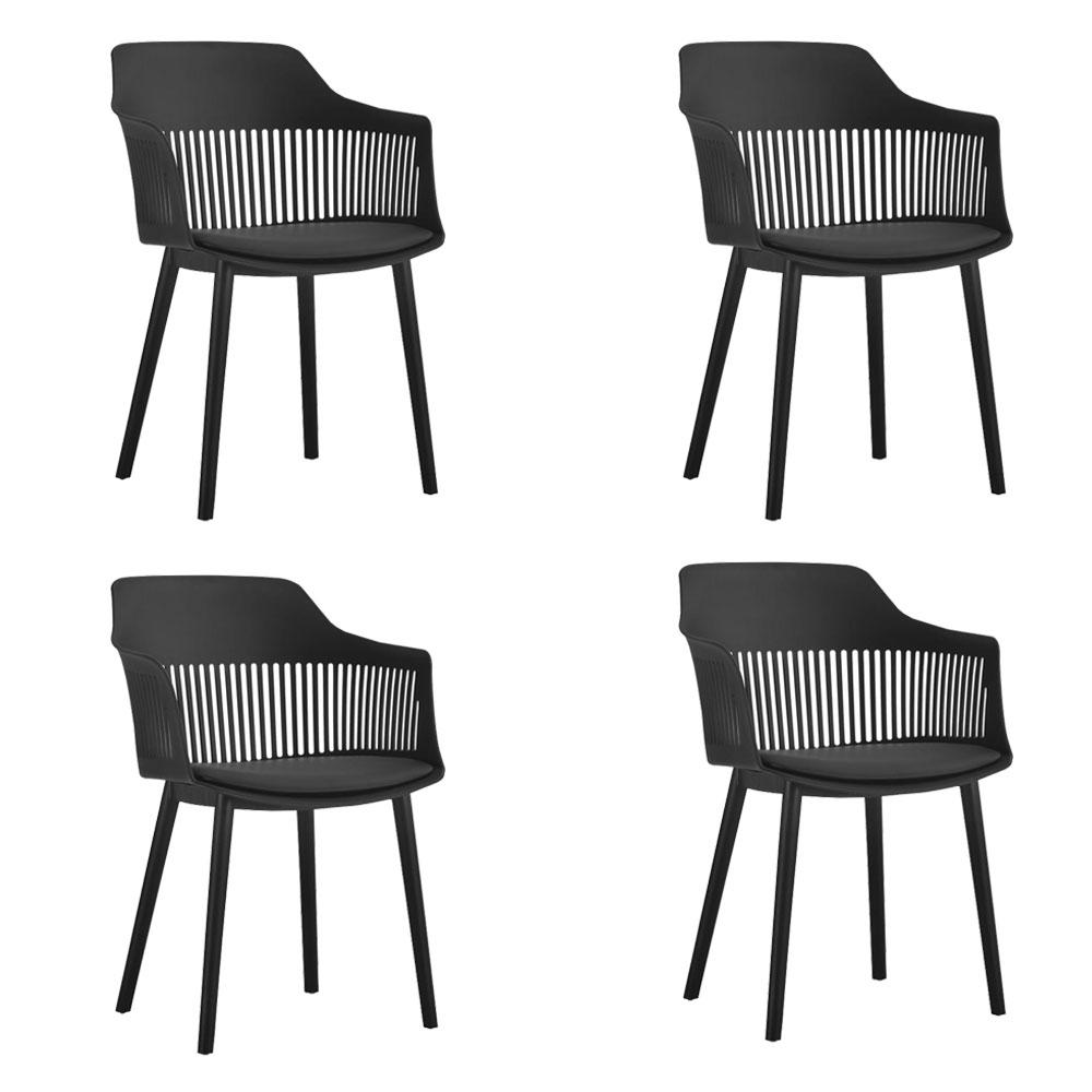 Kit 04 Cadeiras Polipropileno Marcela Preto - D'Rossi
