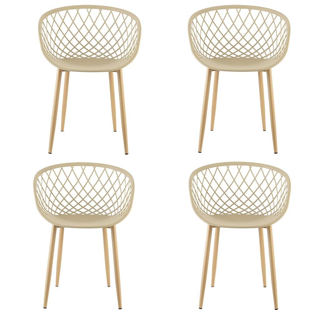 Kit 04 Cadeiras Clarice com Braço Tressê Bege D'Rossi