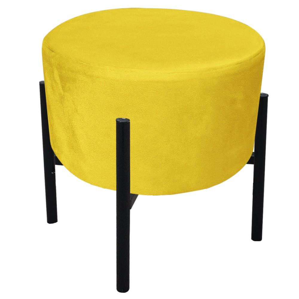 Kit 04 Puffs Iron Suede Amarelo Base Preto Palito D'Rossi