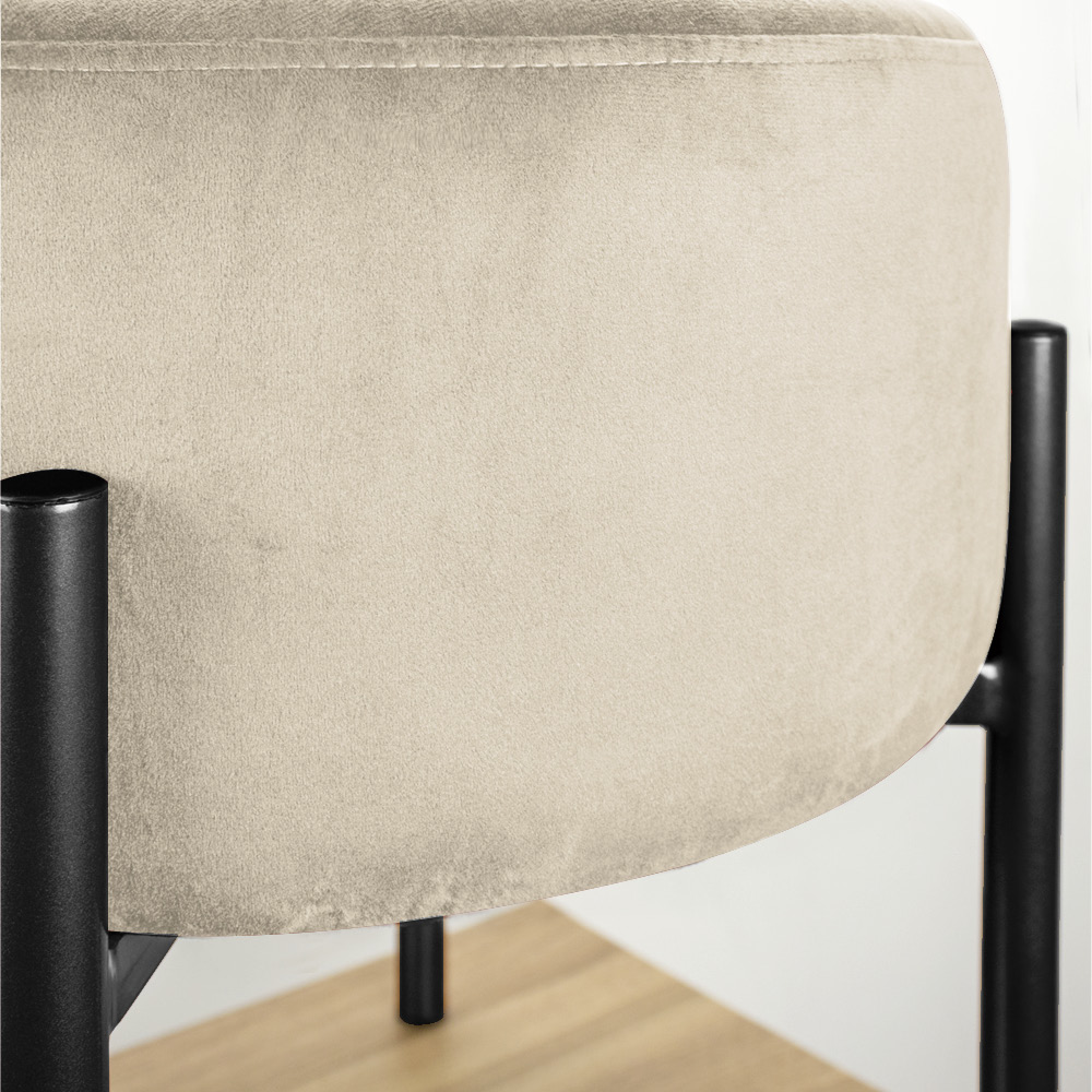 Kit 04 Puffs Iron Suede Bege Base Preto Palito D'Rossi