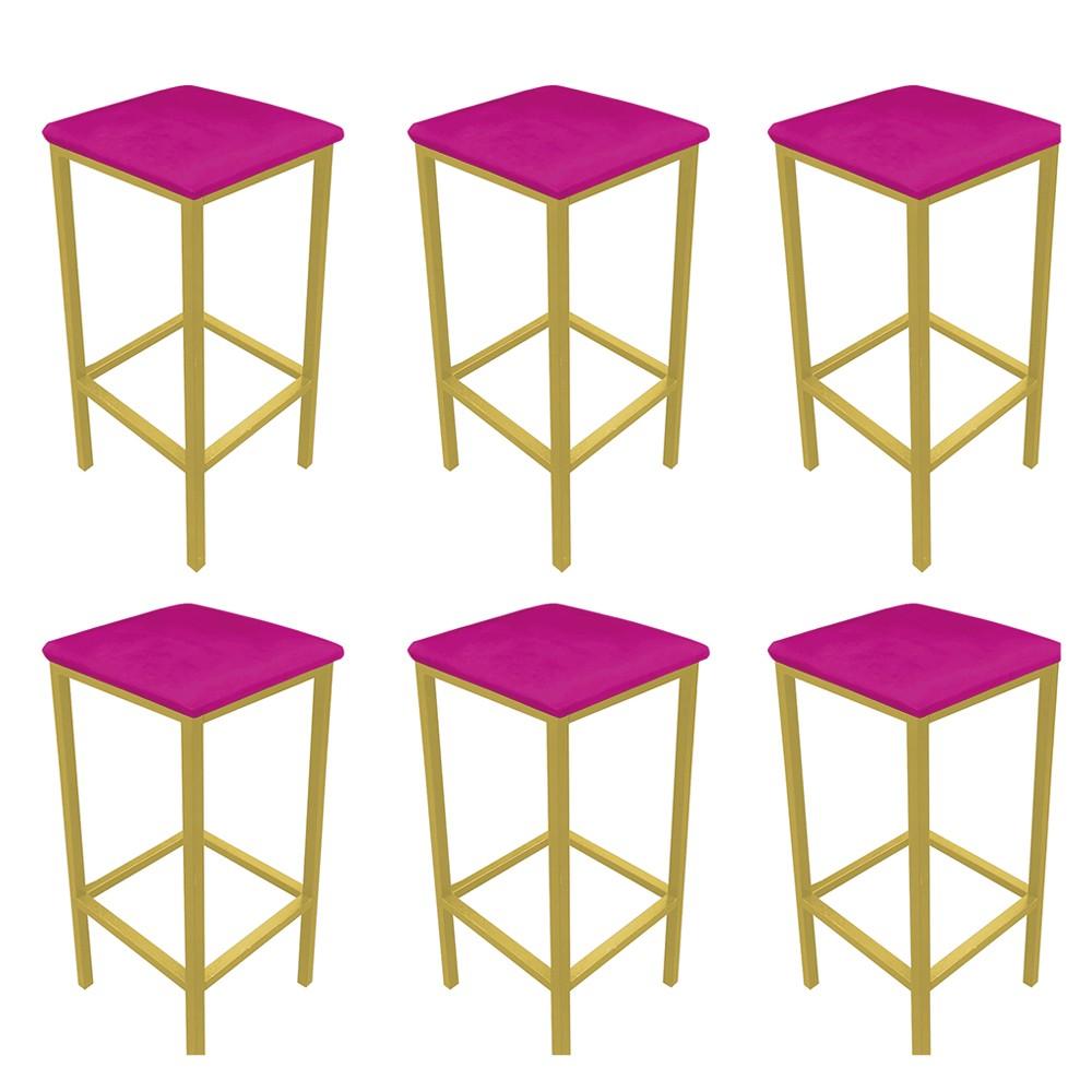 Kit 06 Banquetas Industrial Donna Suede Pink Base Dourado D'Rossi