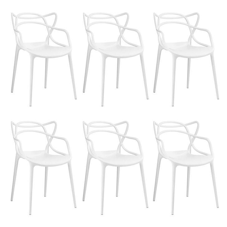Kit 06 Cadeira Allegra Sala de Jantar Branco - D'Rossi
