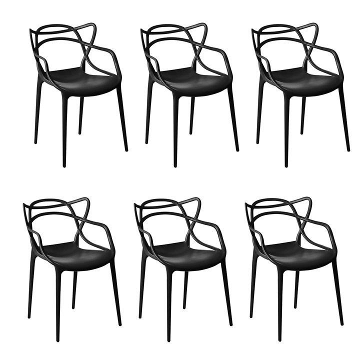 Kit 06 Cadeira Allegra Sala de Jantar Preto - D'Rossi