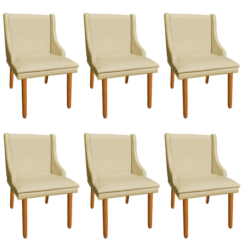 Kit 06 Cadeiras de Jantar Liz Corino Bege Pés Palito Castanho D'Rossi