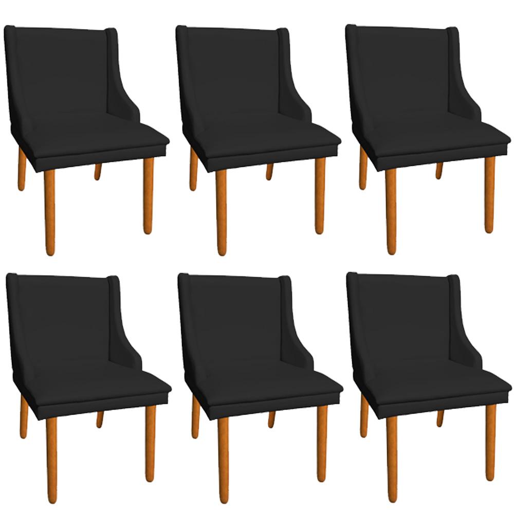 Kit 06 Cadeiras de Jantar Liz Corino Preto Pés Palito Castanho D'Rossi