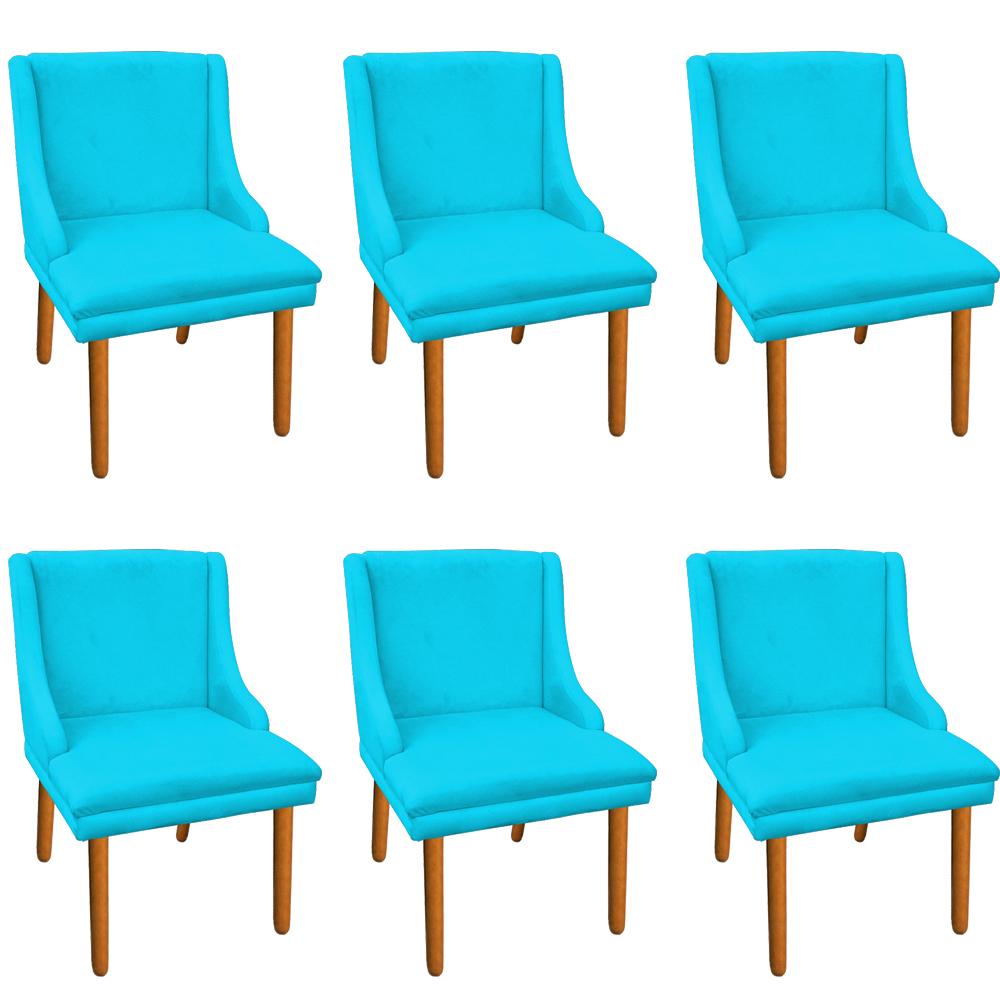 Kit 06 Cadeiras de Jantar Liz Suede Azul Turquesa Pés Palito Castanho D'Rossi