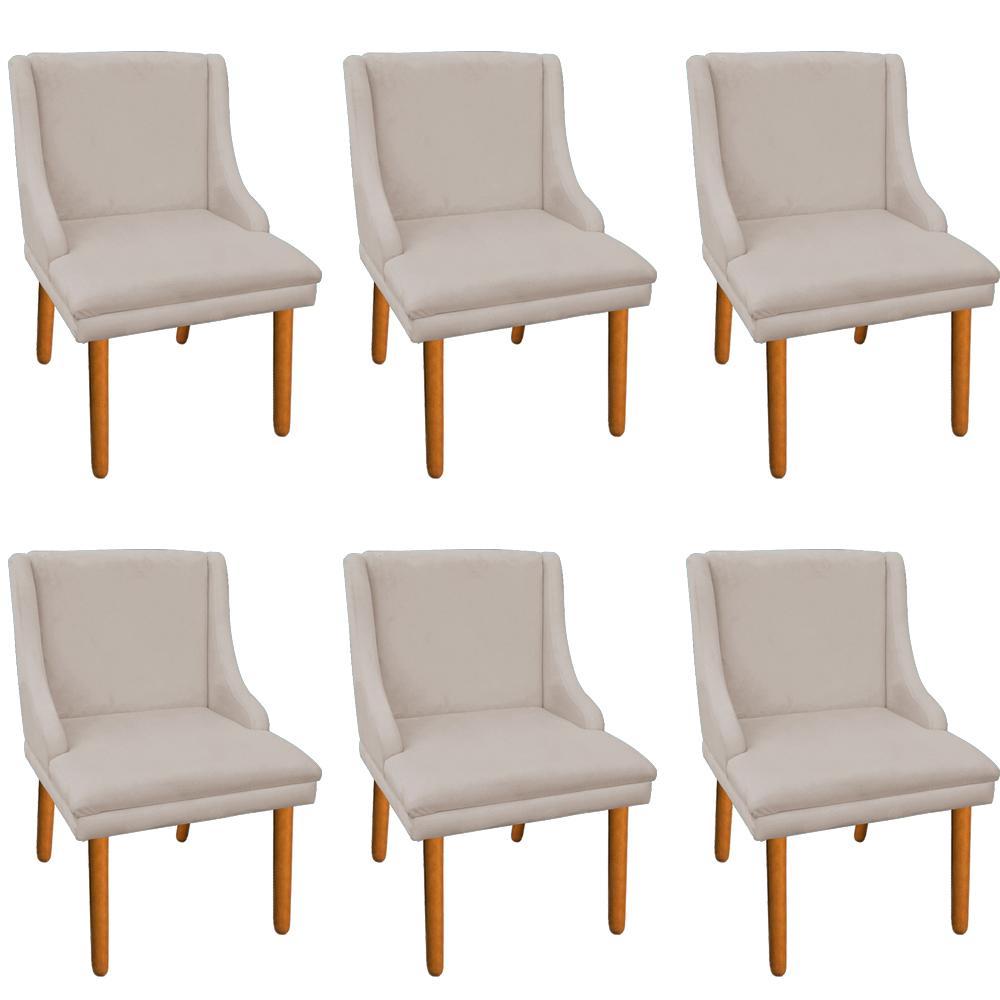 Kit 06 Cadeiras de Jantar Liz Suede Bege Pés Palito Castanho D'Rossi