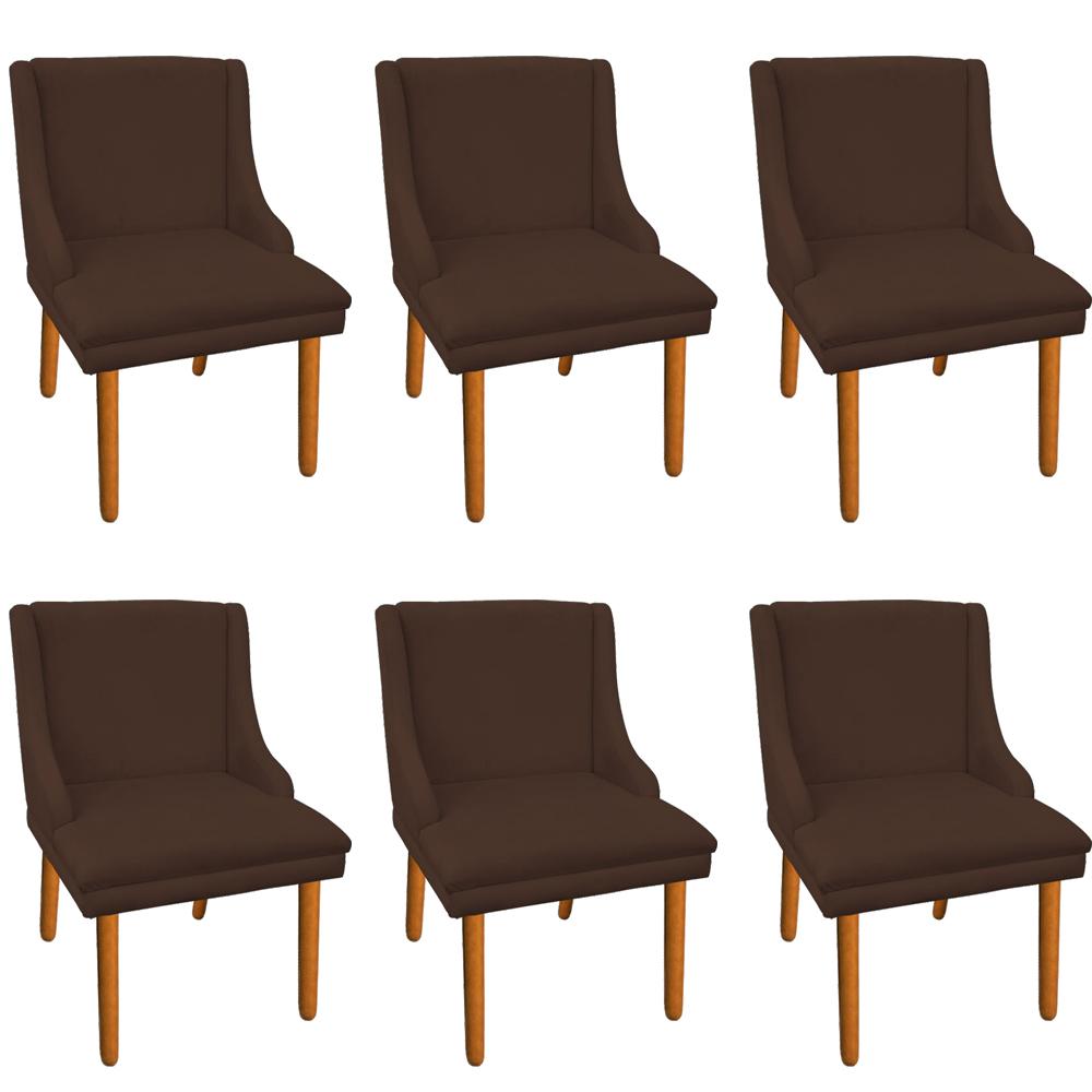 Kit 06 Cadeiras de Jantar Liz Suede Marrom Pés Palito Castanho D'Rossi