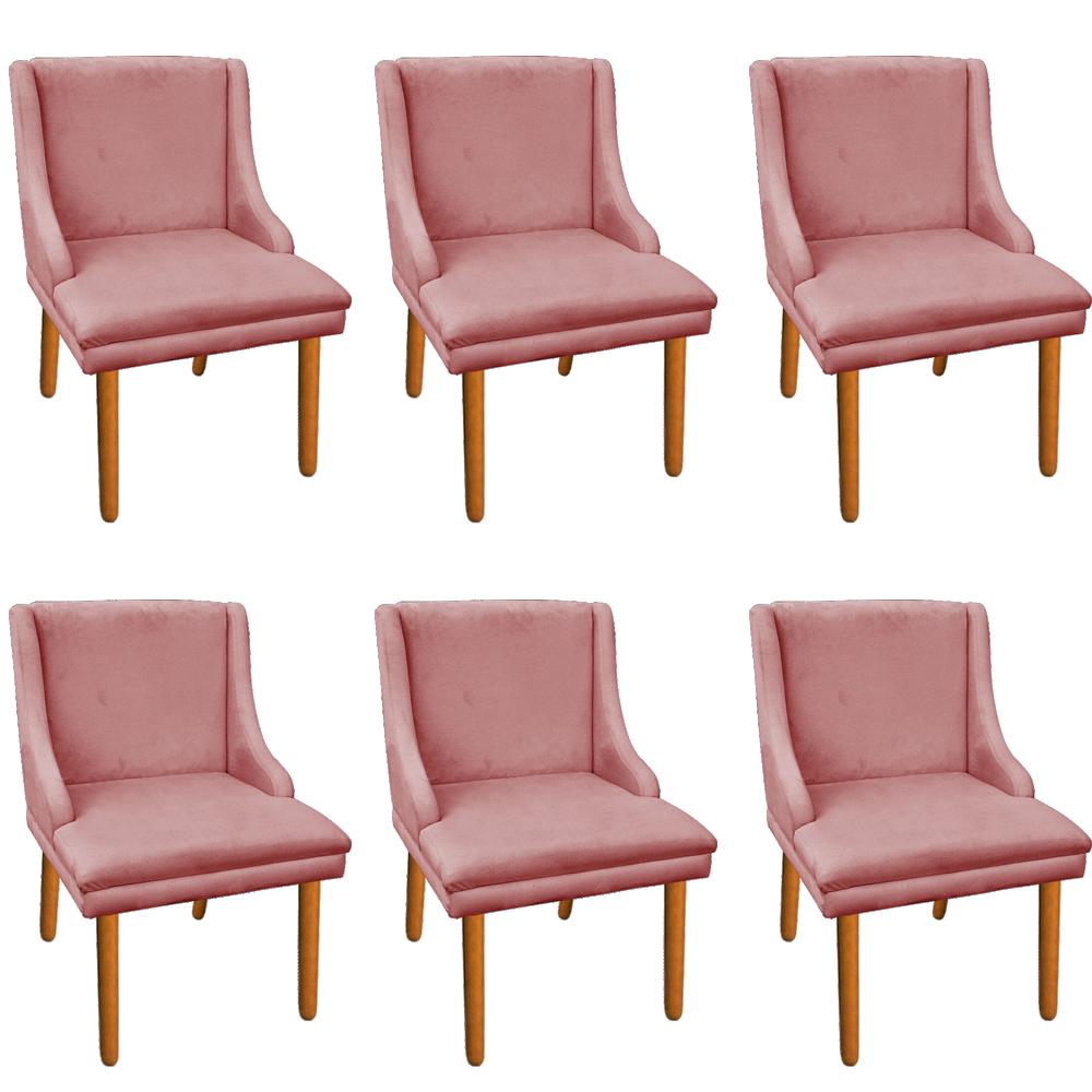 Kit 06 Cadeiras de Jantar Liz Suede Rose Pés Palito Castanho D'Rossi